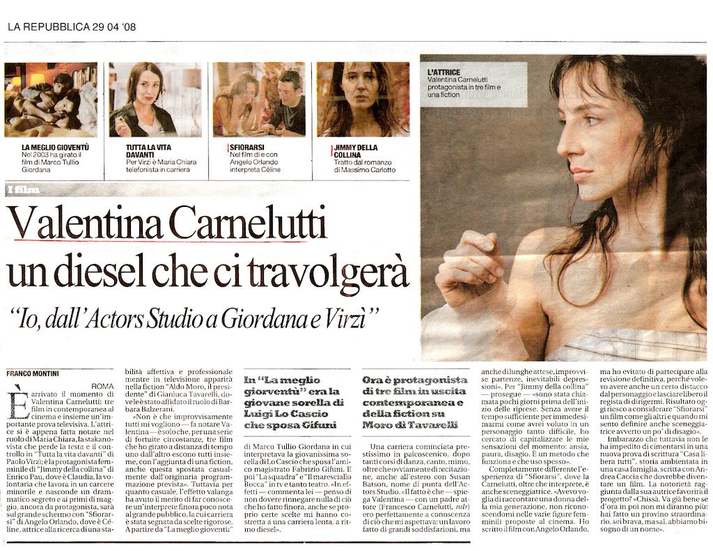 Valentina Carnelutti- 29 04 08 LA REPUBBLICA